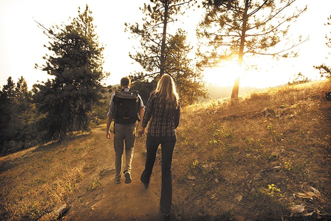 Paul Dillon and Tiffany Harms on a trail from the Rocks of Sharon - YOUNG KWAK
