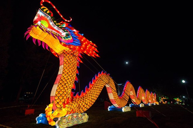 The centerpiece of the festival is the 196-foot dragon in the center of the park. - WASHINGTON STATE CHINESE LANTERN FACEBOOK