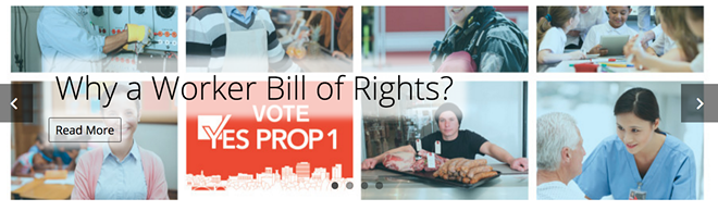Screen grab of Envision Worker Rights campaign website featuring stock photos