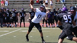 Whitworth redshirt sophomore quarterback Ian Kolste throws downfield against Whittier College on Sept. 7, 2015. - WHITWORTH UNIVERSITY ATHLETICS