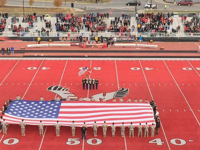 The Eagles hosted Northern Arizona Saturday night for their homecoming and military/veteran appreciation night. - MAX CARTER