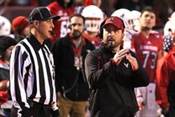 EWU Eagles head coach Beau Baldwin takes a timeout during the Homecoming game on November 7 against Northern Arizona. - RON SWARDS