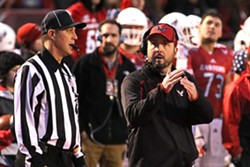EWU Eagles head coach Beau Baldwin takes a timeout during the Homecoming game on November 7 against Northern Arizona. - RON SWARDS