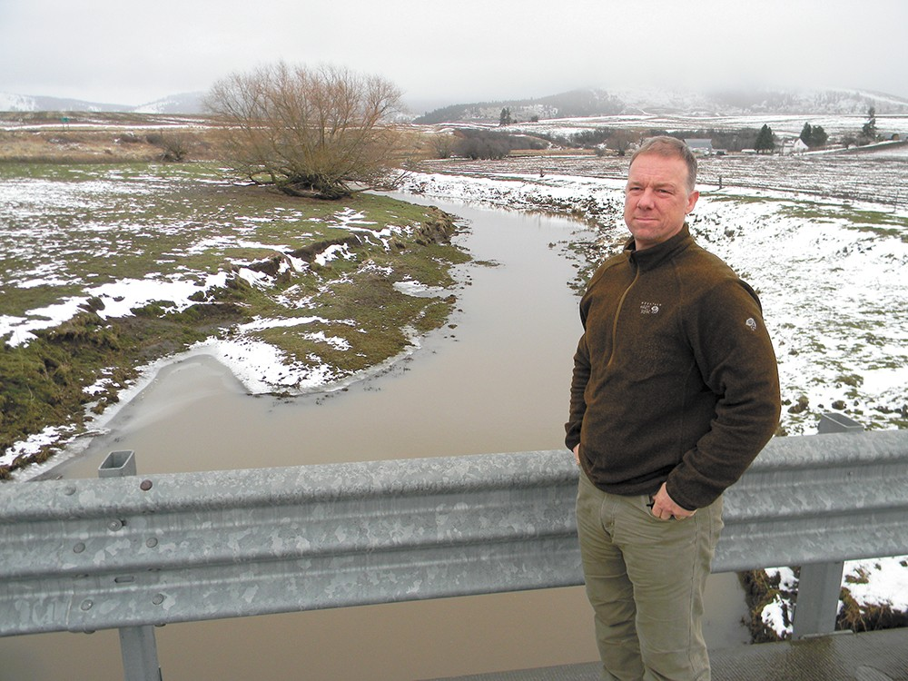 """Spokane Riverkeeper Jerry White calls Hangman Creek a """"weeping sore"""" on the area's ecological system. Runoff from agriculture nearby, he says, has made it the most polluted creek in the state. - JAKE THOMAS"""