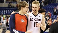 Gonzaga's Kyle Wiltjer and Domantas Sabonis. - GOZAGS.COM