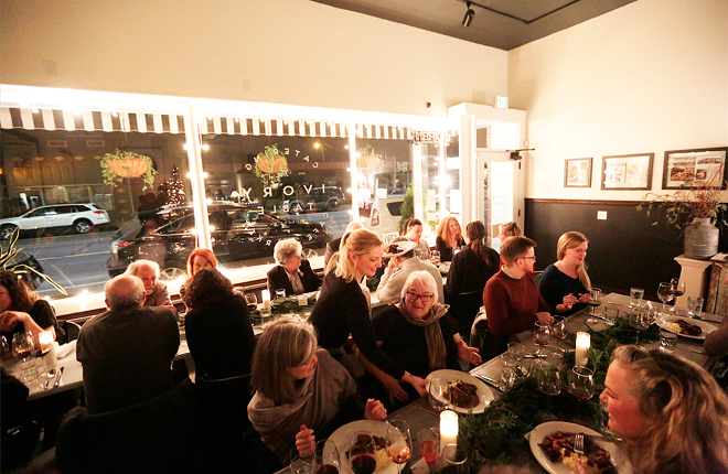 The scene at the Ivory Table's monthly supper club dinner last December. - YOUNG KWAK PHOTO
