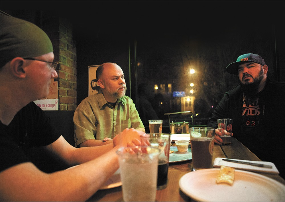 Local radio DJs (from left) Matt Loi, Martin Faulks and Scott Steele wonder if disco will ever come back. Not that they miss it. - KRISTEN BLACK