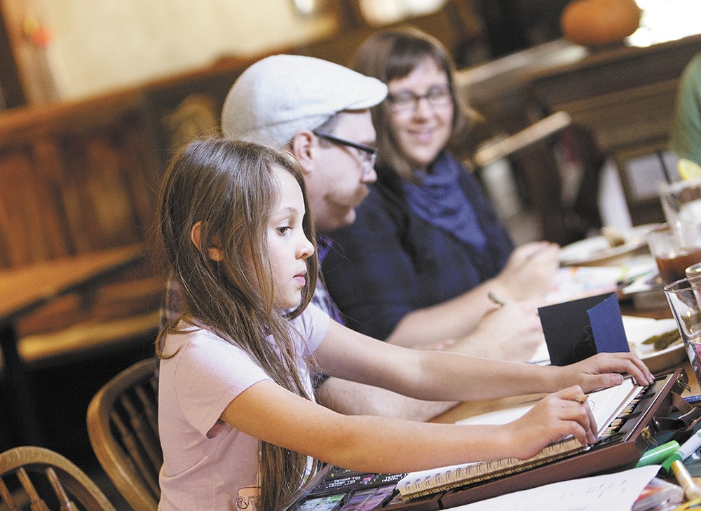 Tiffany Patterson (right) is making coloring cool again at her monthly Social Sketch events. |YOUNG KWAK photo