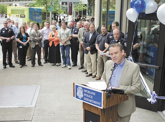 Last April, the police chief told city administrators directly that the plan was to keep some police officers at the Peyton Building (pictured here during its 2013 opening) after moving the precinct to the Intermodal Center.