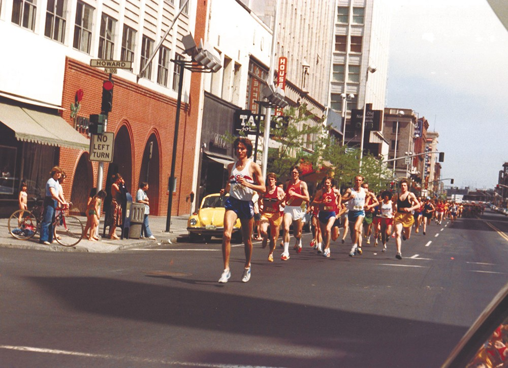The head of the pack at the first Lilac Bloomsday Run in 1977, with founder Don Kardong leading the way.
