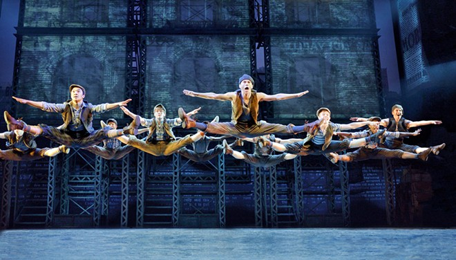 Newsies' all-male dance troupe wowed audiences with their acrobatic jumps, flips, kicks and spins. - DISNEY'S NEWSIES