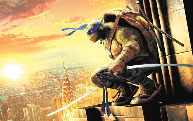 Head Ninja Turtle Leonardo takes in the city view and ponders the box office take.