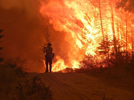 A firefighter silhouetted by the Cougar Creek Fire, which burned last year in southwestern Washington.