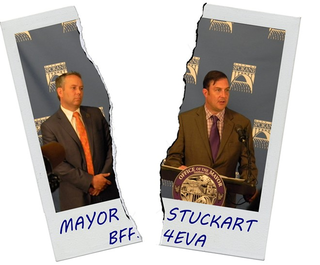 Arguments over what can be divulged in confidential closed-door meetings have been a crucial part of the split between Mayor David Condon and City Council President Ben Stuckart. - But if they repair that rift, that might be in a secret meeting, too. - DANIEL WALTERS PHOTO ILLUSTRATION