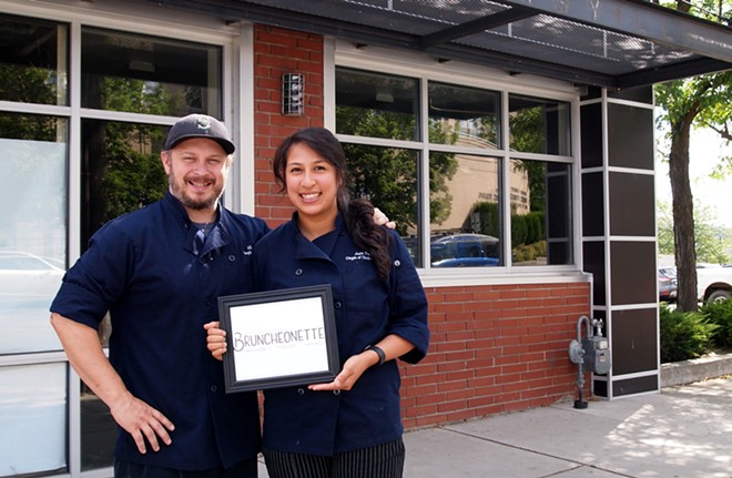 Couple of Chefs co-owners Allen Skelton and Joile Forral outside the future home of their new brick-and-mortar restaurant Bruncheonette, scheduled to open this fall.