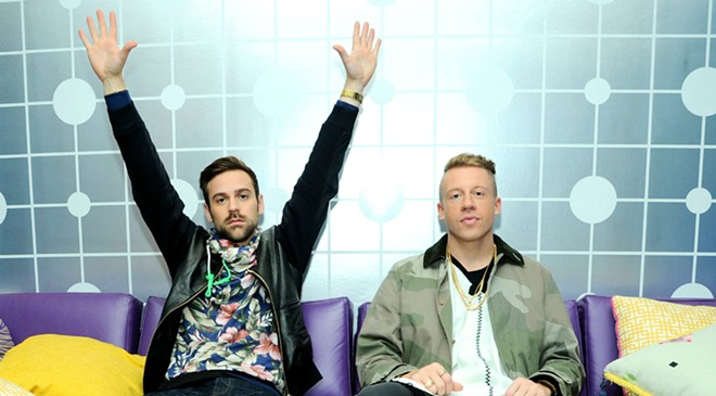 Hometown boy Ryan Lewis (left) and Macklemore play a sold-out gig at the Bing on Tuesday.