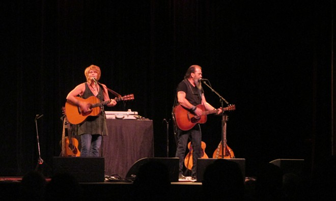 Shawn Colvin and Steve Earle at the Bing Crosby Theater Wednesday. - DAN NAILEN