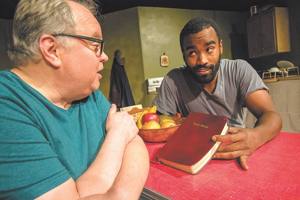 Ron Ford (left) and Edward Casto in Stage Left's The Sunset Limited. - JEFF FERGUSON