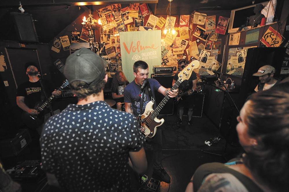 The Grenades perform at Mootsy's (facing page) and Pérenne plays the Bartlett during Volume, the Inlander's music festival. - YOUNG KWAK AND ERICK DOXEY