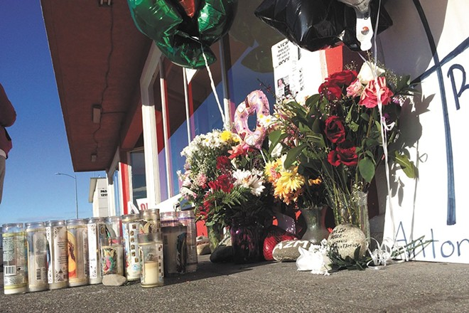 A memorial for Antonio Zambrano-Montes, a man who was shot by Pasco police