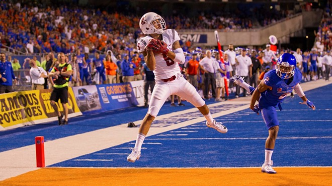 Gabe Marks makes a grab vs. Boise State on that obnoxious blue turf. - WSU ATHLETICS