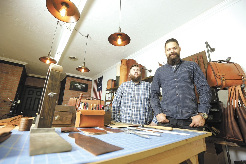 Craft and Lore owner Chad Von Lind (right) and maker Michael Miles at their Coeur d'Alene shop. - YOUNG KWAK