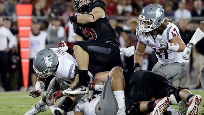 """The Cougs """"D"""" held last year's Heisman Trophy runner-up Christian McCAffrey in check before he left the game with an injury. - WSU ATHLETICS"""