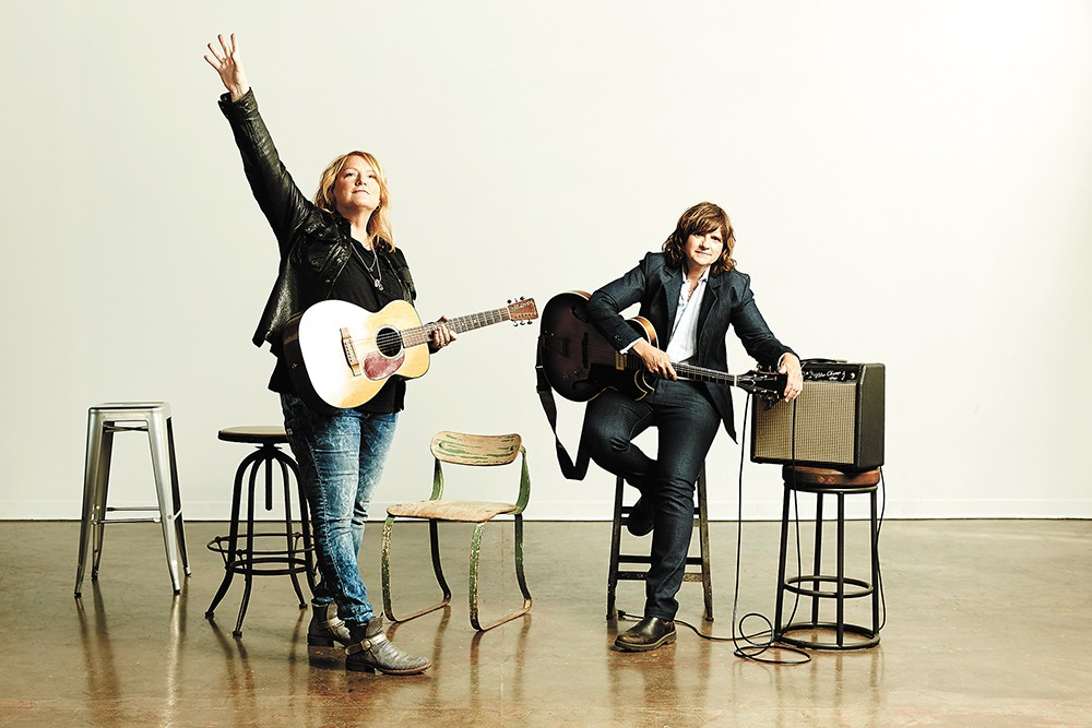 Indigo Girls' Emily Saliers (left) and Amy Ray are still challenging themselves musically.