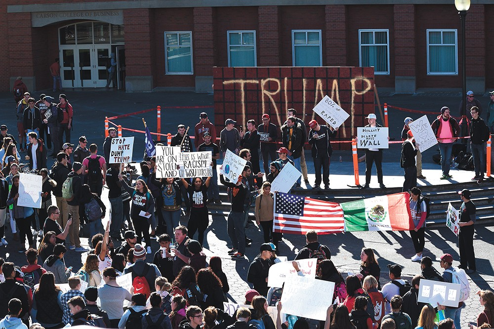 "WSU students protest the ""Trump Wall"" on campus last week. - TAEHLOR CRIM, MURROW NEWS SERVICE"