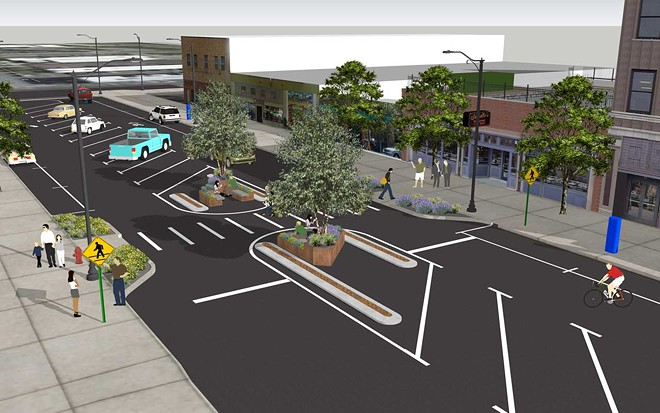 A rendering from back in May laid out the Main Avenue redesign. - CITY OF SPOKANE RENDERING