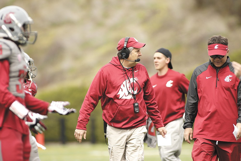 WSU head coach Mike Leach has publicly defended his players arrested on assault charges this year. - YOUNG KWAK