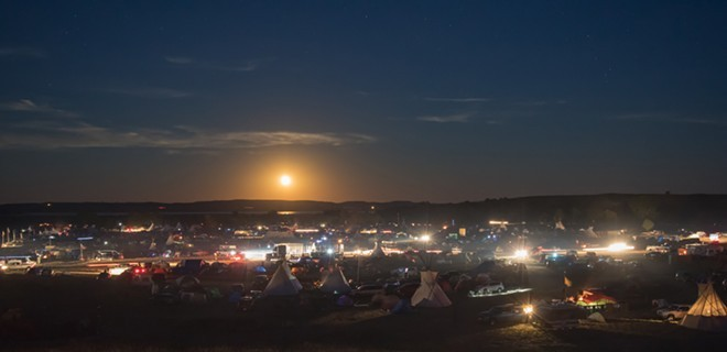 The Standing Rock protest on a more peaceful night. - JEFF FERGUSON