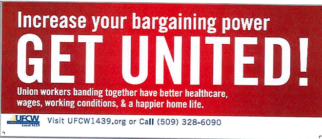 This UFCW ad was taken down off of STA buses after it was determined it violated their advertising policy - PROVIDED BY STA