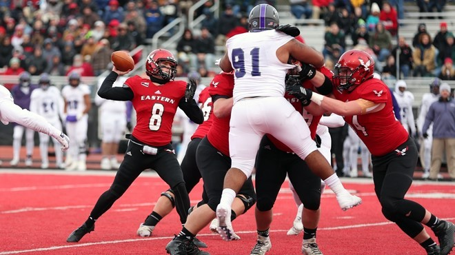 Gage Gubrud set a school record with 47 completed passes against Central Arkansas. - EWU ATHLETICS