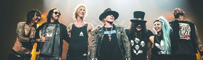 The current version of Guns N' Roses revolves around Duff McKagan, Axl Rose and Slash (center three)