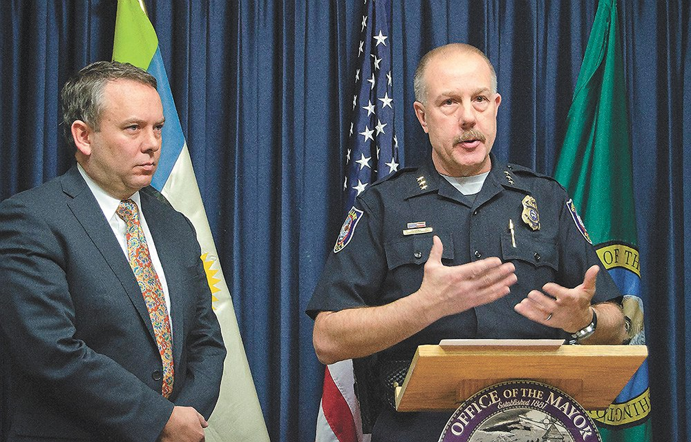 Former Police Chief Frank Straub and the man who hired and fired him, Mayor David Condon.