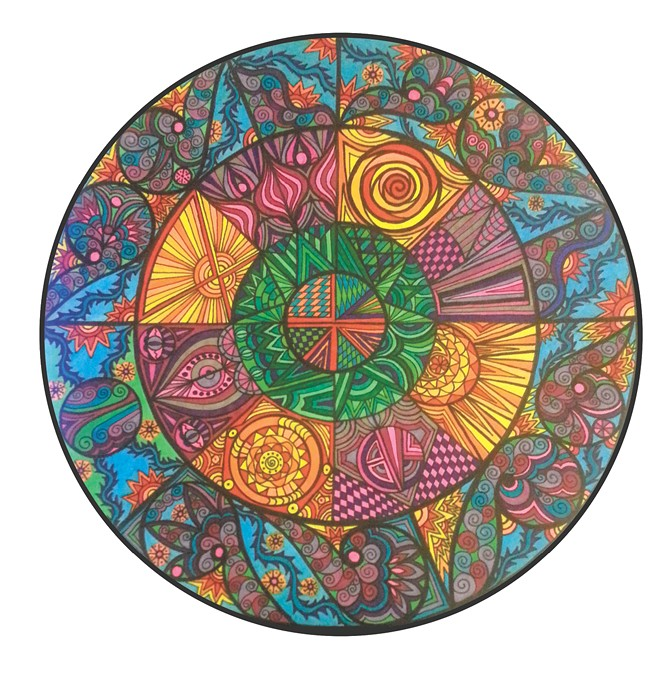 A mandala from local artist Connie Janney's coloring book.