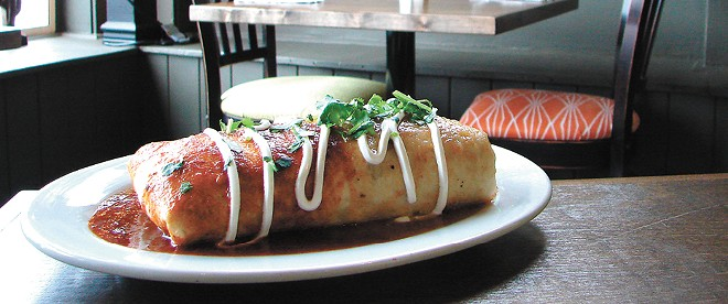 The smoked brisket burrito at Nadine's Mexican Kitchen. - CARRIE SCOZZARRO