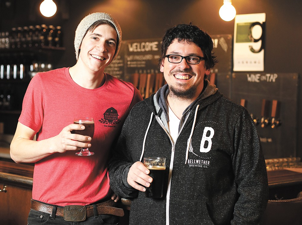 Big Barn Brewing's Eli Deitz (left) and Bellwether Brewing's Thomas Croskrey are both experimenting with no-hop beers. - YOUNG KWAK