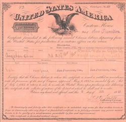 Ping's certificate for re-entry to the U.S.
