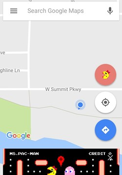 A SCREENGRAB OF GOOGLE MAPS' MS. PAC-MAN GAME FRIDAY, MARCH 31