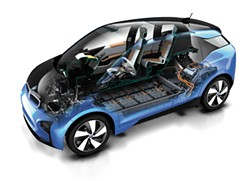 The electric BMW i3's passenger compartment is made from strong, lightweight carbon fiber manufactured in Moses Lake. - BMW PHOTO