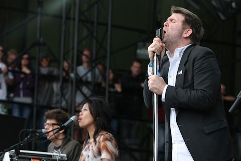 LCD Soundsystem performing at Sasquatch! in 2010.