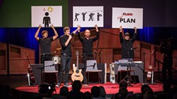 OK Go's four members entertain the audience at a TED Talk in Vancouver, B.C.