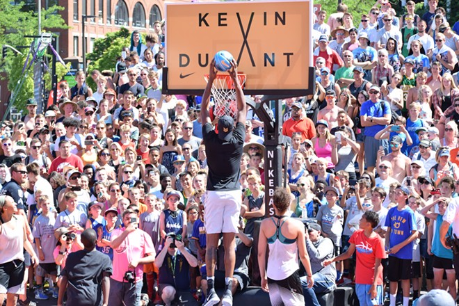 The backboard on Nike Center Court made sense once Durant showed up. - WILSON CRISCIONE