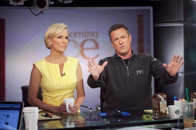 "Joe Scarborough, right, and Mika Brzezinski host MSNBC's ""Morning Joe"" at NBC Studios in New York on April 14, 2010. President Donald Trump on June 29, 2017, assailed Brzezinski in unusually personal and vulgar terms, the latest of a string of escalating attacks by the president on the national news media. Shortly before 9 a.m., as Brzezinski's MSNBC show ""Morning Joe"" was ending, Trump used Twitter to taunt Ms. Brzezinski and her co-host, Joe Scarborough, referring to them as ""low I.Q. Crazy Mika, along with Psycho Joe."" - MICHAEL NAGLE/THE NEW YORK TIMES"