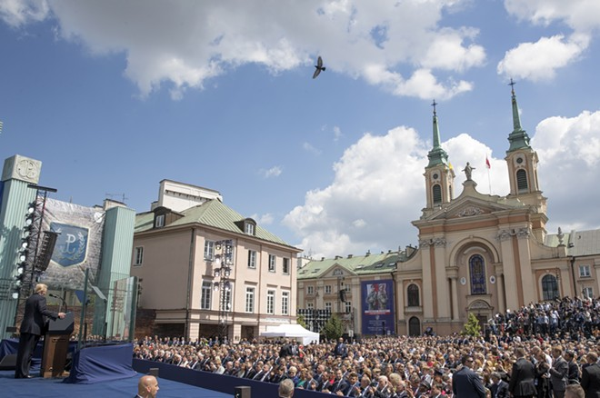 President Donald Trump delivering remarks at Krasinski Square in Warsaw, Poland, July 6, 2017. Trump is visiting Poland ahead of the G-20 meeting in Germany. - STEPHEN CROWLEY/THE NEW YORK TIMES