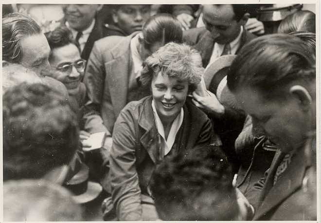 In an undated photo, Amelia Earhart after landing at the end of a long-distance flight that included an unscheduled stop when a bug got into her eye. Various forms of the theory that Earhart may have ended up in Japanese custody have been tossed around for decades, but a newly discovered photograph of what could be her in after her disappearance is breathing new life into the idea. - THE NEW YORK TIMES