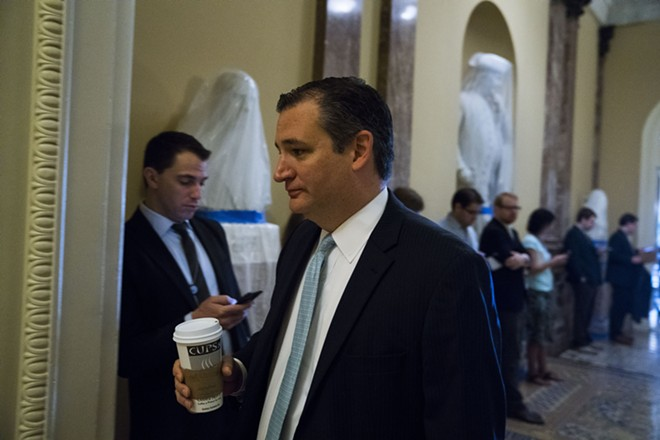 Sen. Ted Cruz (R-Texas) on his way to a meeting on Capitol Hill, in Washington, June 22, 2017. The White House is backing a health care proposal advanced by Cruz that would make it easier for insurance companies to avoid complying with consumer-protection standards, siding with some of the most conservative senators. - DOUG MILLS/THE NEW YORK TIMES