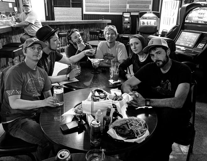 Folkinception is (left to right) Seth Carey, Kent Ueland,  Jeff Nordvall, John Bottelli, Heather Montgomery and Matt Mitchell. - FOLKINCEPTION